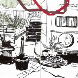 Back Patio of Hostel / Portland, OR