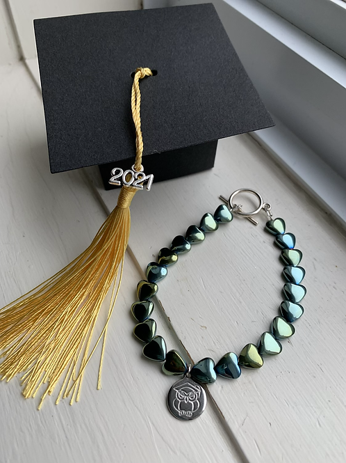 Electroplated Hematite Hearts Graduation Bracelet