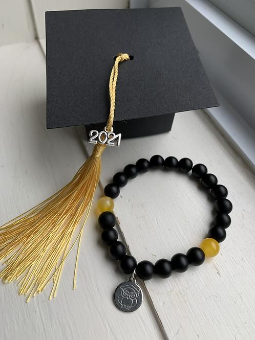 Black & Yellow Bead Graduation Bracelet