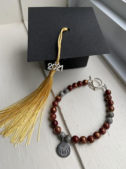 Burgundy, Gold & Grey Graduation Bracelet