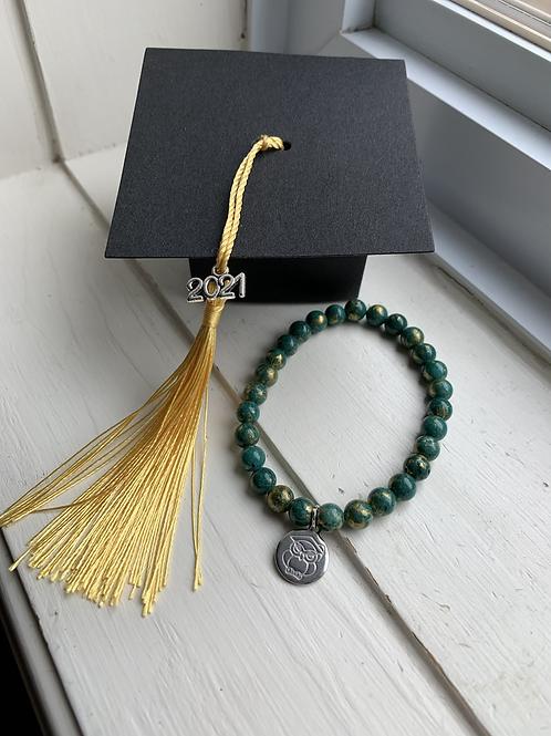 Green & Gold Bead Graduation Bracelet