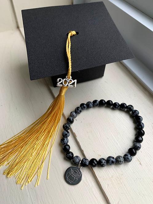 Black Snowflake Obsidian Graduation Bracelet