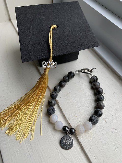 Labradorite, Lava Stone & Hematite Graduation Bracelet