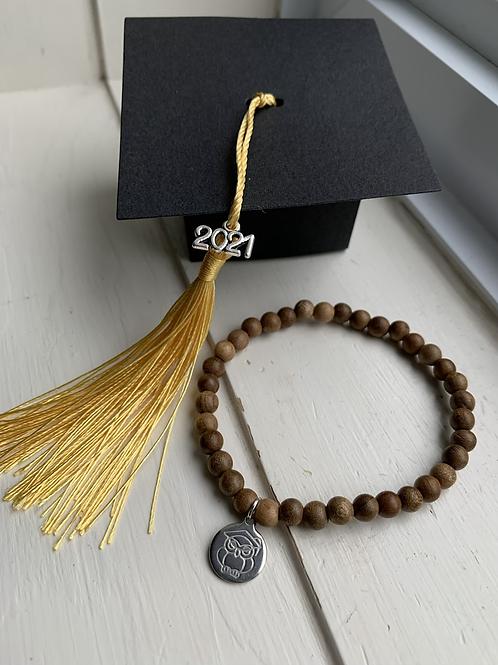 Wood Bead Graduation Bracelet