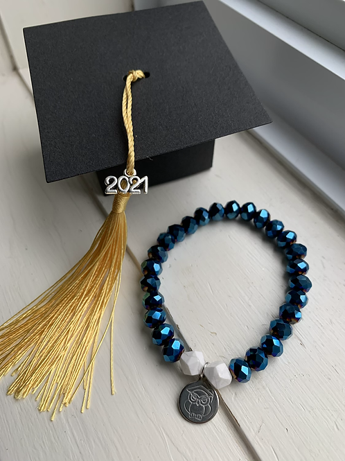 Blue Electroplated Druzy Graduation Bracelet