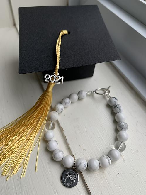 Howlite & Clear Quartz Graduation Bracelet