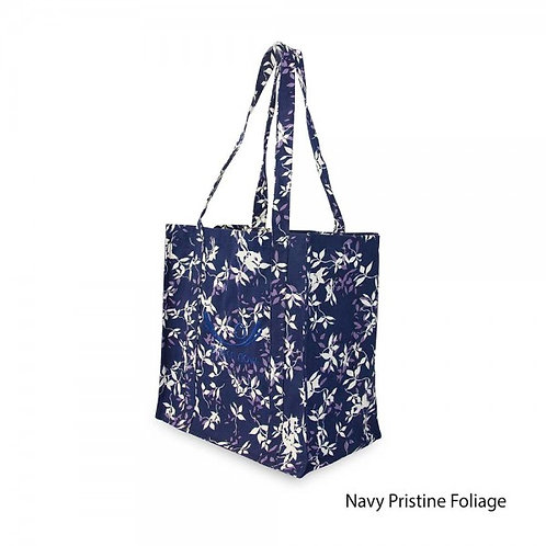 Stretch Now Organic Cotton Shopping Bag - Navy Pristine Foliage