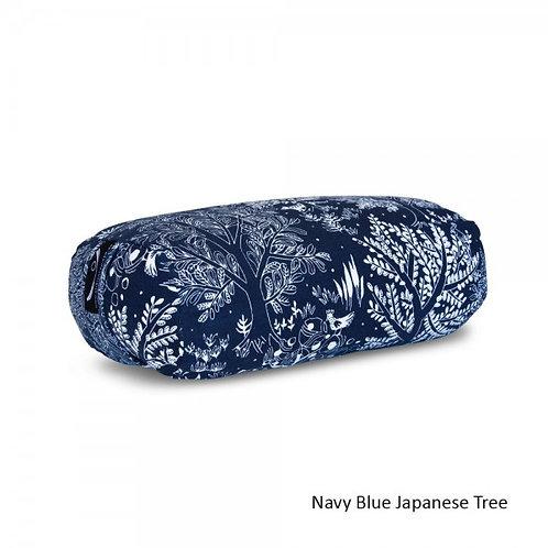 Stretch Now Rectangular Zafu Meditation Cushion -Navy Blue Japanese Tree
