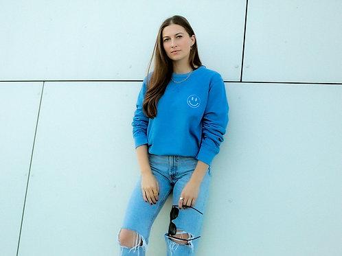 SMILEY FACE Vintage Sweatshirt Azurblau
