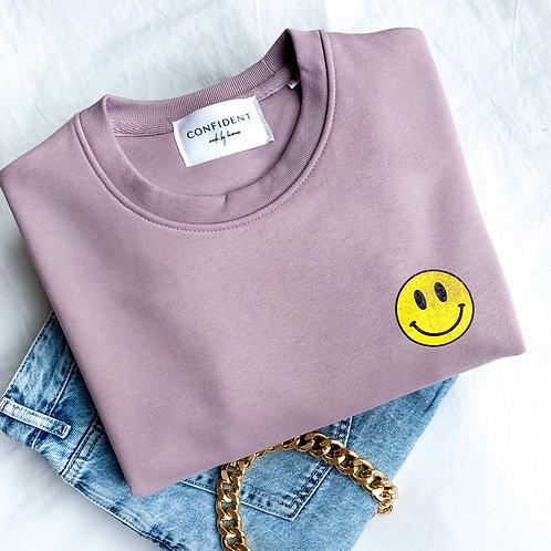 VINTAGE SMILEY FACE Sweatshirt Flieder