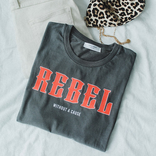 REBEL Vintage T-Shirt Dunkelgrau