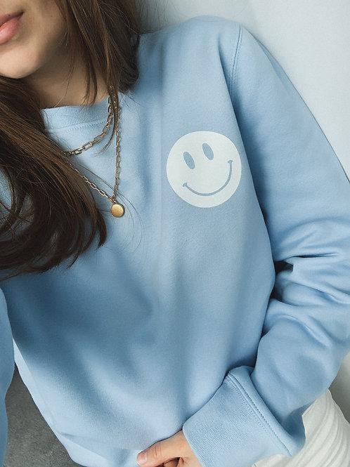 SMILEY FACE Sweatshirt Hellblau