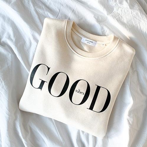 GOOD VIBES Sweatshirt in Creme