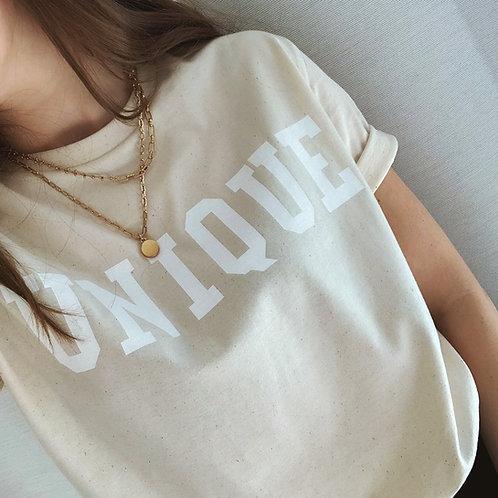 UNIQUE T-Shirt Cremeweiß