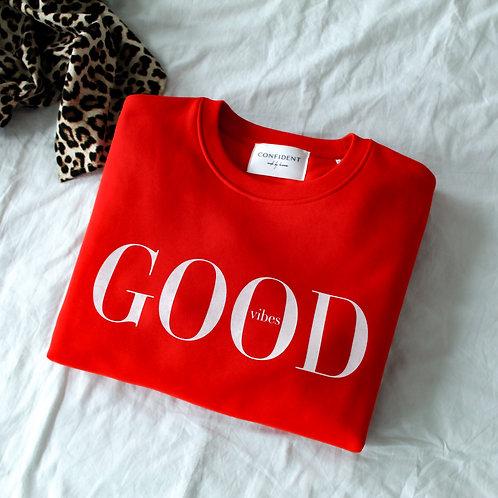 GOOD VIBES Sweatshirt Rot