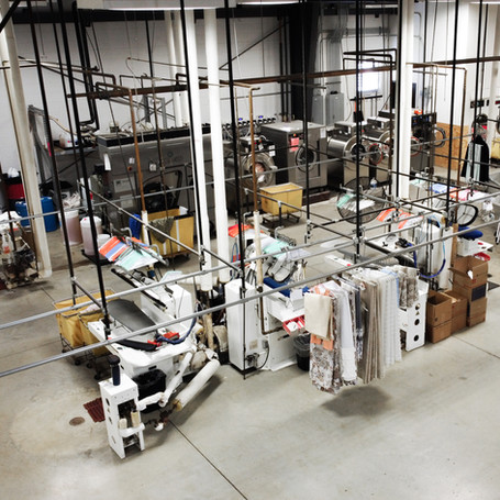 Our state of the art, fully automated textile production facility stands 25,000 sq. ft. Our climate controlled and fully secured storage facility can accommodate any size job. And we will make your garments accessible during your home's restoration.