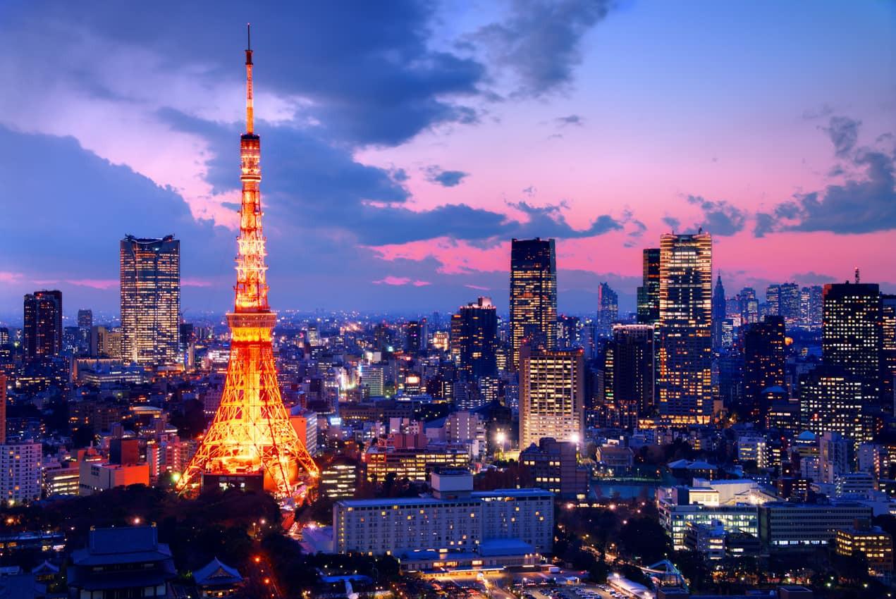 Vista aérea torre cidade Tóquio, Japão.j