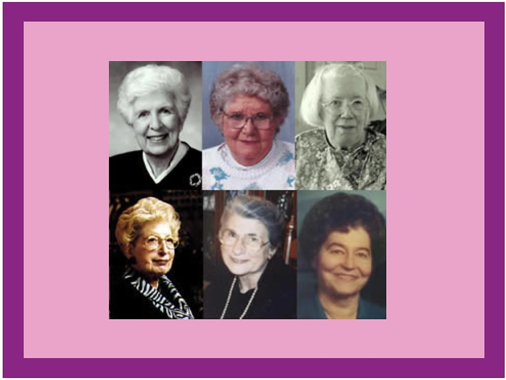 ENIAC computer programmers: Betty Snyder Holberton, Jean Jennings Barik, Kay McNulty Mauchly Antonelli, Marlyn Wescoff Meltzer, Ruth Lichterman Teitelbaum and Frances Bilas Spence