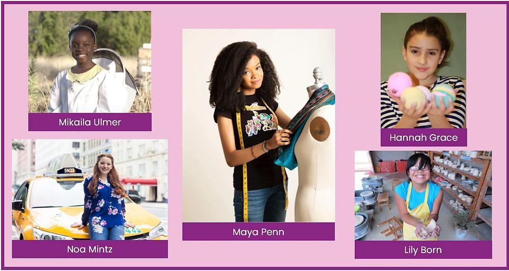 Kid entrepreneurs Mikaila Ulmer, Noa Mintz, Maya Penn, Hannah Grace & Lily Born