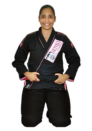 Kimono Senki Girl Preto c/ Friso Rosa