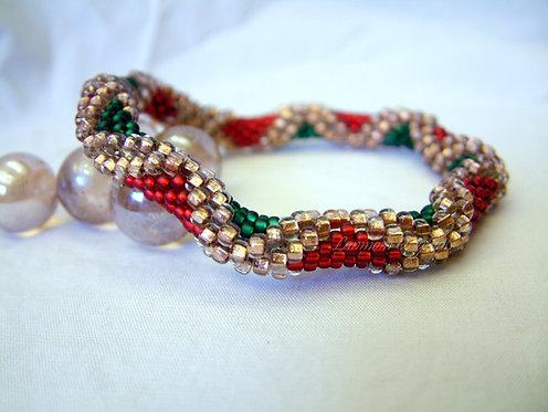 Bead Crochet Bracelet, Christmas Diamonds