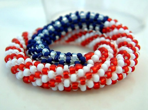Bead Crochet Bracelet, Field of Blue, Flag Bracelet