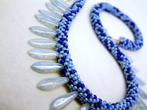 Bead Crochet Necklace, I'm Blue