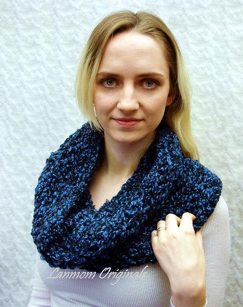 Chunky Cowl, Crochet Infinity Scarf, Textured Hood - Douglass