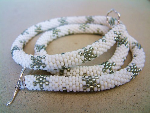 Bead Crochet Necklace, Snowflakes