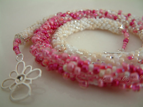Bead Crochet Necklace, Fantasia Pink