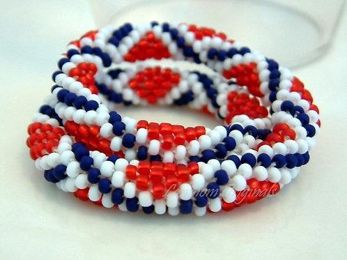 Bead Crochet Bracelet, StarCrossed, Flag Bracelet
