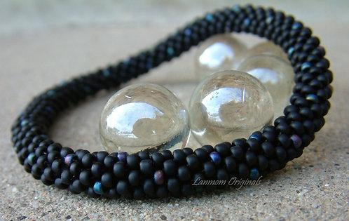 Bead Crochet Bracelet, Simple Black