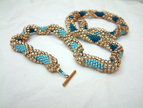 Bead Crochet Necklace, Ocean Storm