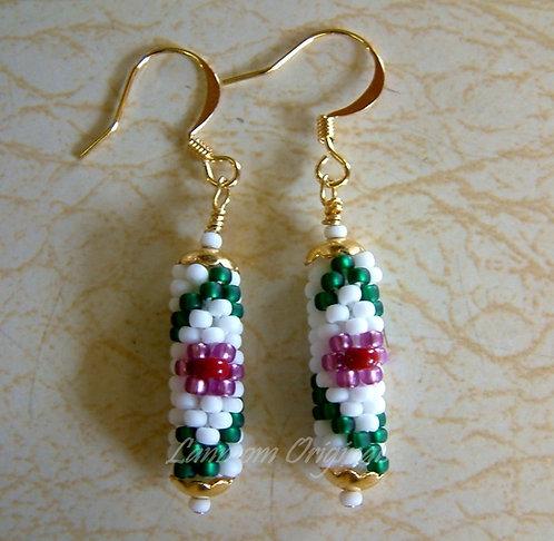 Bead Crochet Earrings, Flower and Vine