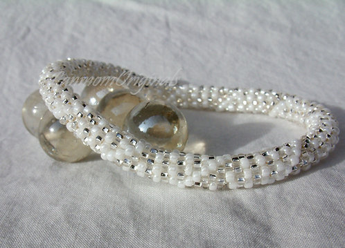 Bead Crochet Bracelet, Snow Queen