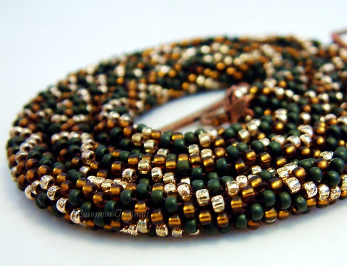 Bead Crochet Necklace, Mossy Swirl