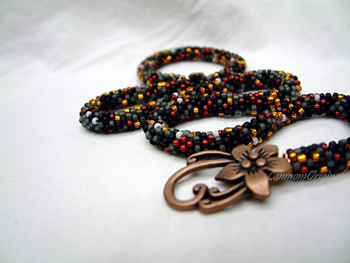 Bead Crochet Necklace, Smolder