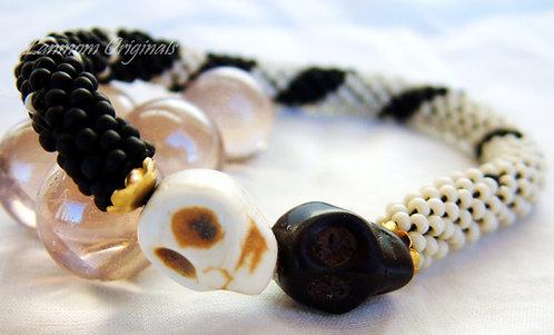 Bead Crochet Bracelet, Ebony and Ivory, Skulls Bracelet