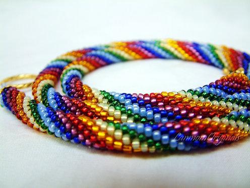 Bead Crochet Necklace, Chakra Rainbow Twist