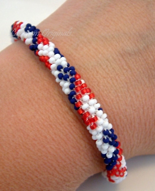 Bead Crochet Bracelet, Keys of Freedom, Flag Bracelet