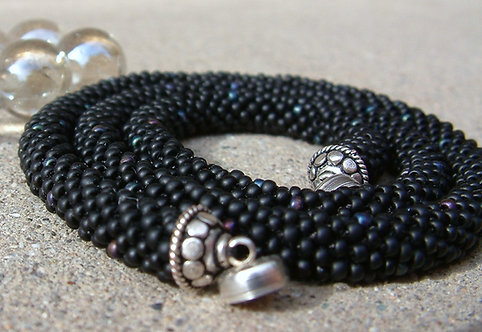 Bead Crochet Necklace, Simple Black