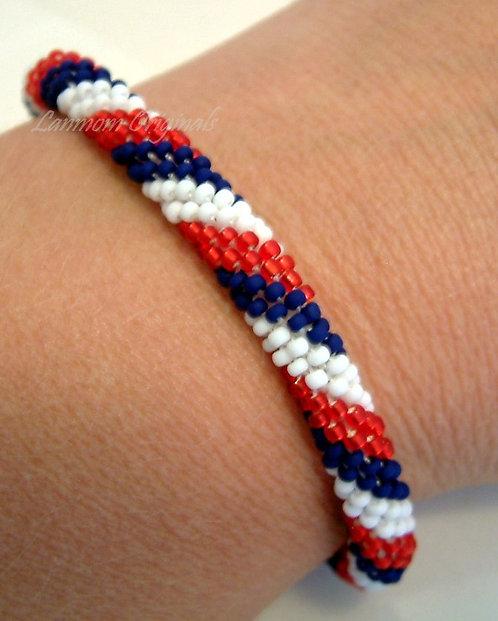 Bead Crochet Bracelet, Liberty Lasso, Flag Bracelet