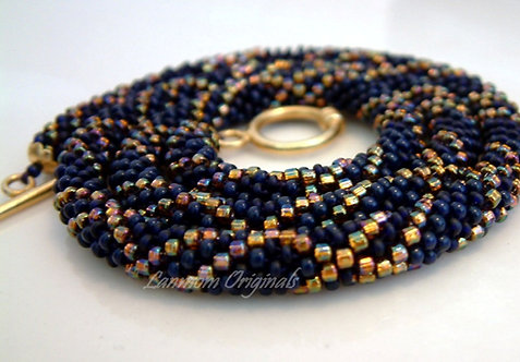 Bead Crochet Necklace, Midnight Stars