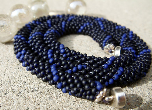 Bead Crochet Necklace, Big Blue