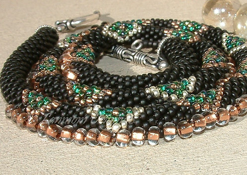 Bead Crochet Necklace, Black Diamonds