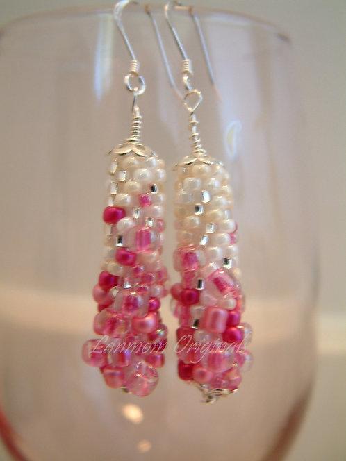 Bead Crochet Earrings, Fantasia Pink