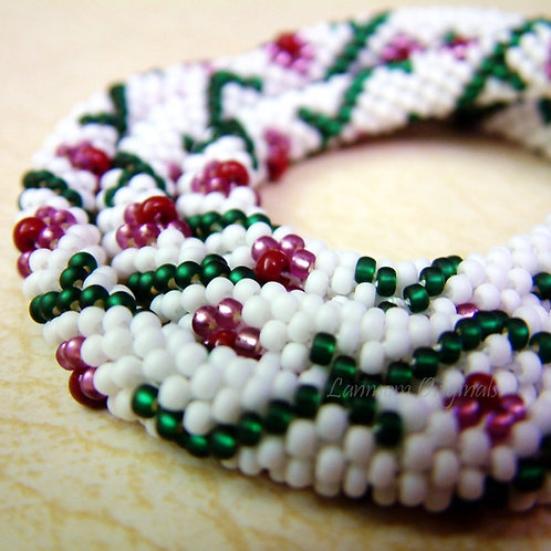 Bead Crochet Necklace, Flower and Vine