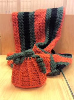 Pumpkin Hat 0-3mo and matching blanket