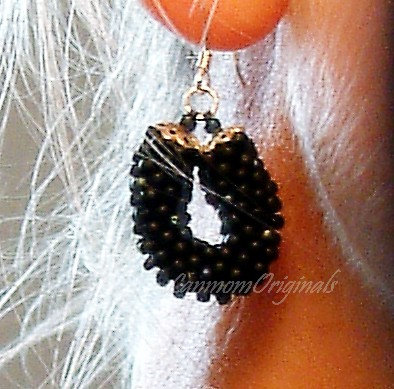 Hoop Bead Crochet Earrings, Simple Black