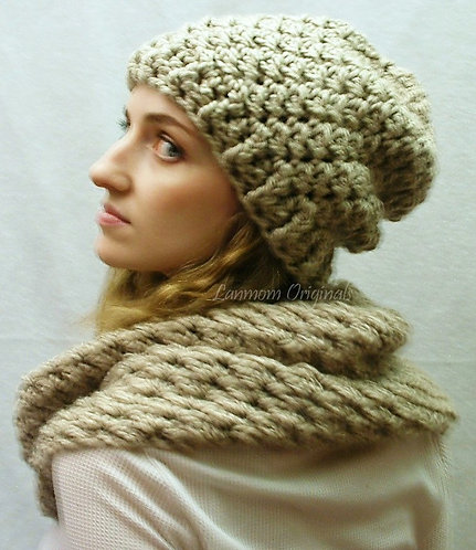 Slouchy Hat, Crochet Beanie - Charlie